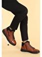 Ayakland Cvk 6080 Cilt Fermuarlı Deri Erkek Bot Ayakkabı Taba